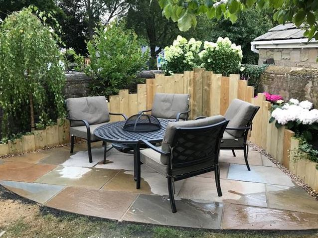 Creative patio space for client completed project chairs and tiles