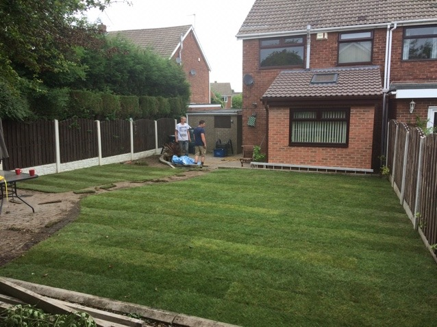 Completed turfing project landscaping grass garden