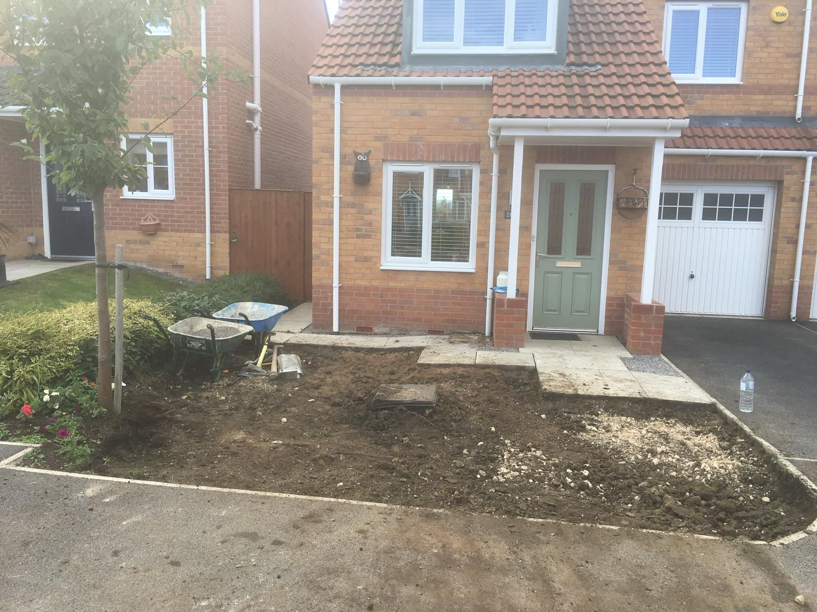 Front patio project before construction