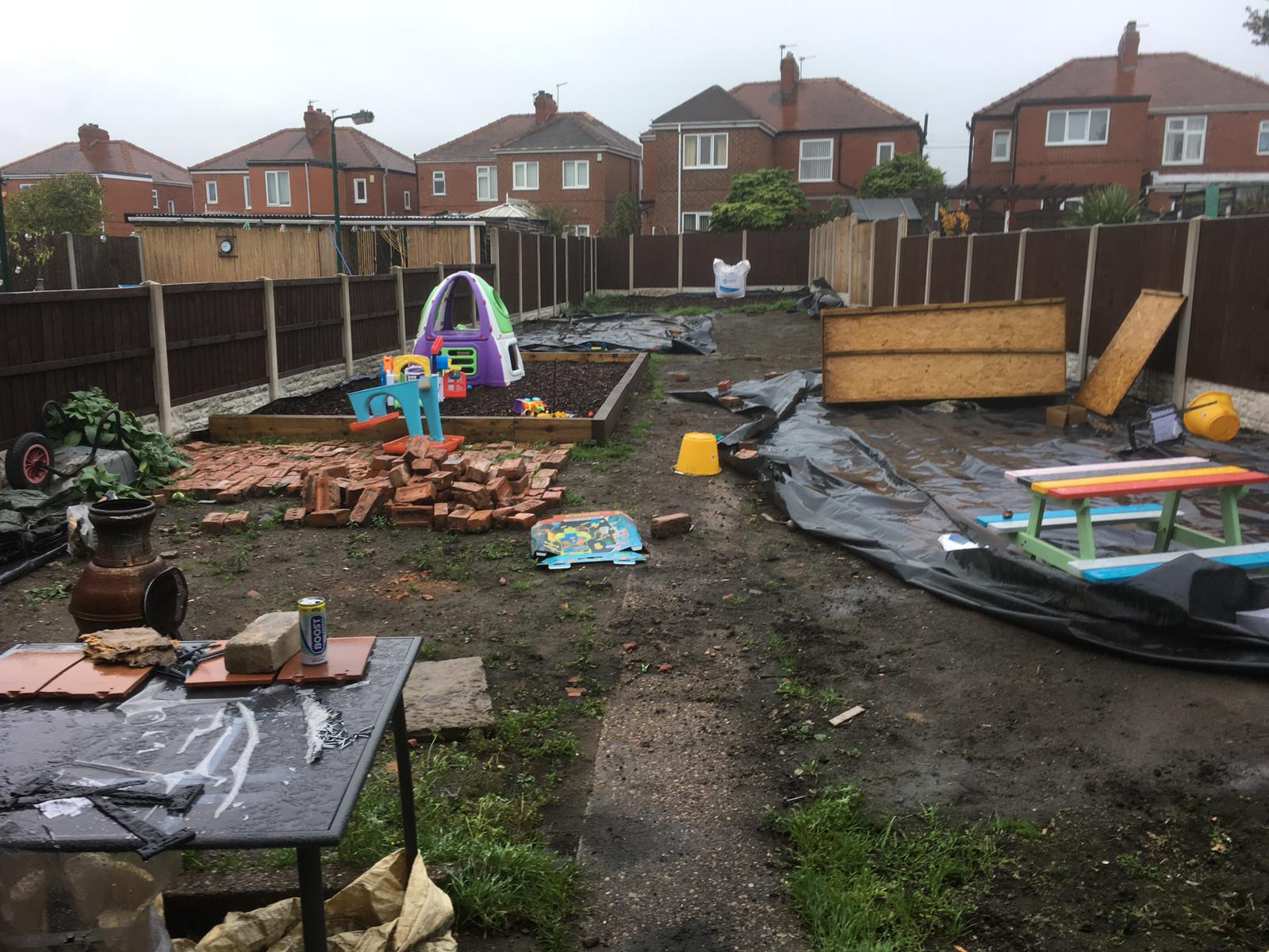Landscaping project before completion