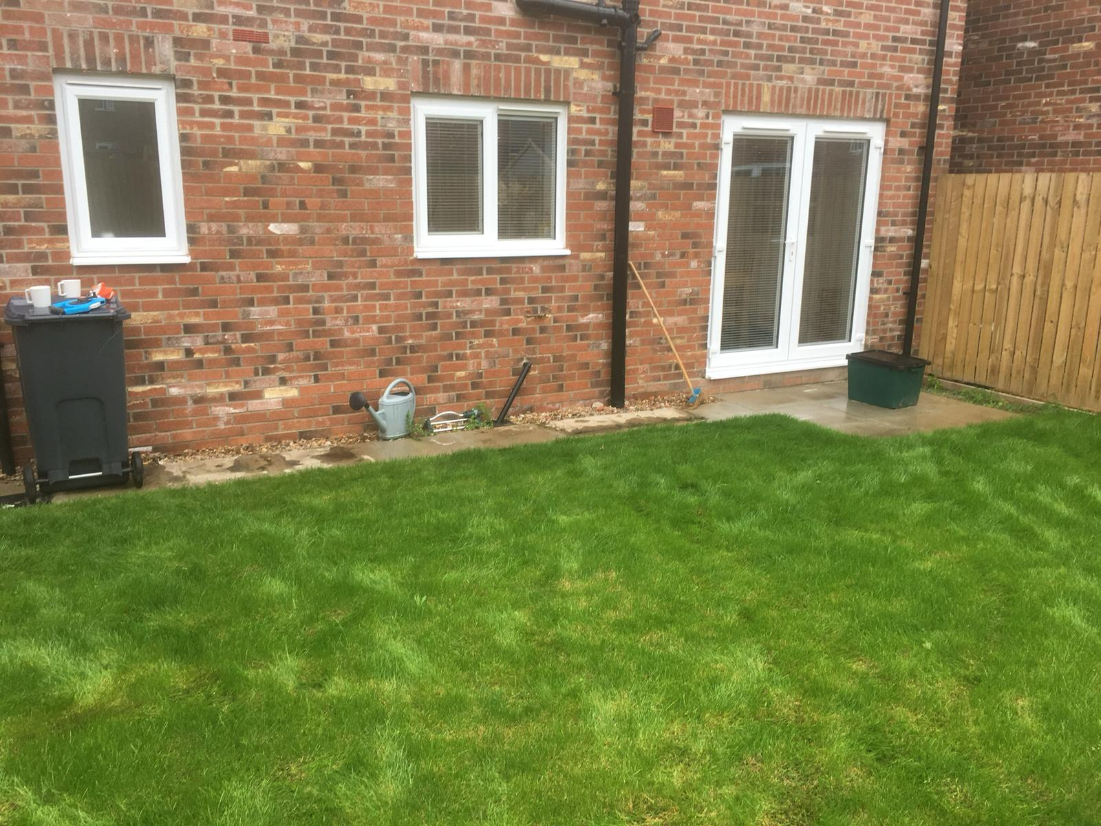 Back garden patio project before completion