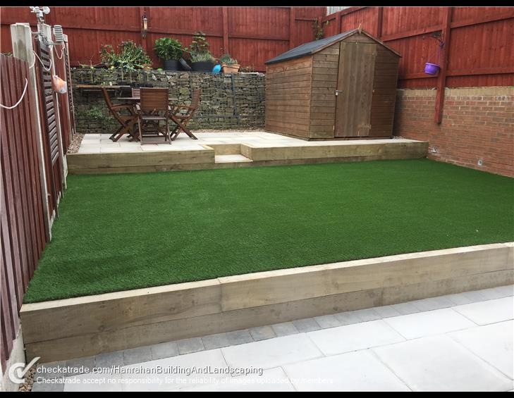 Levelled landscaping project completed multi level grass