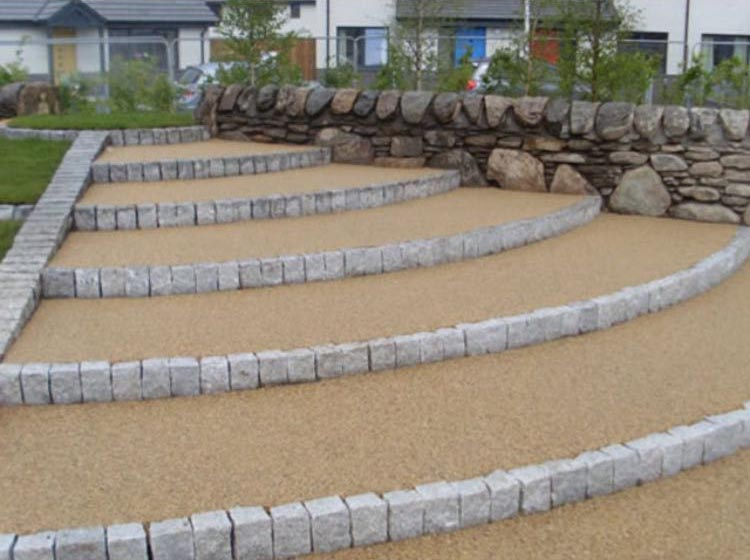 Resin driveway with steps landscaping
